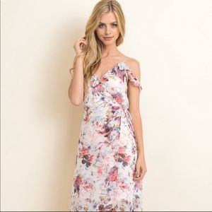 Ruffled wrap floral maxi dress